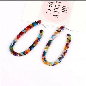U Shape Resin Rainbow Earrings 🌈 NEW